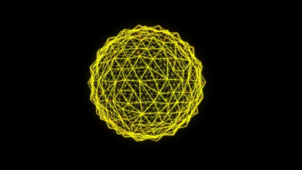 Yellow 3D Lines Motion Background VJ loop