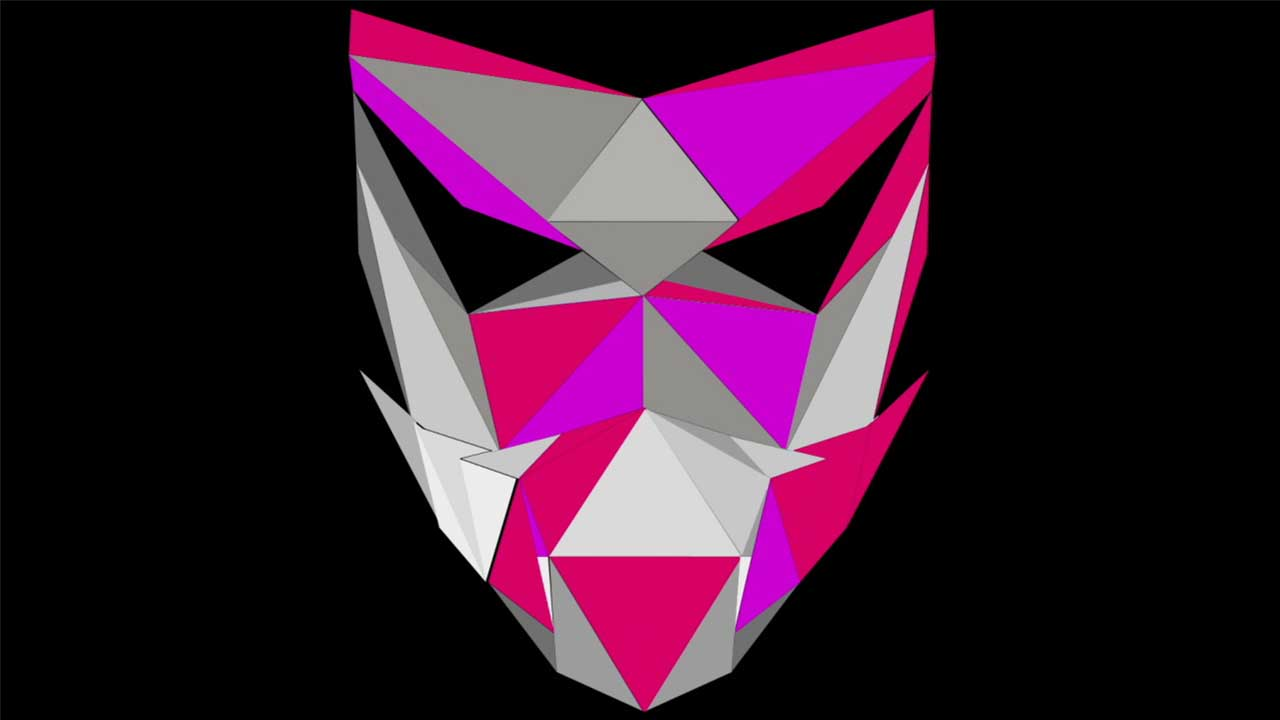 low-poly mask face head vj loop