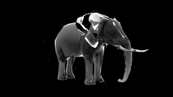 Liquid_Geometry_Statue_Isolated_on_Black_Background_Video_VJ_loop Elephant