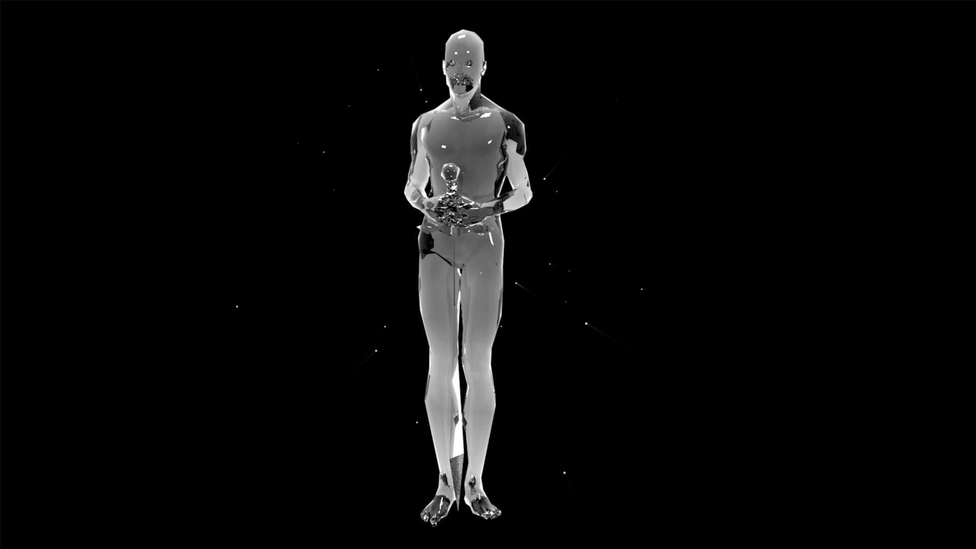 Liquid_Geometry_Statue_Isolated_on_Black_Background_Video_VJ_loop Knight