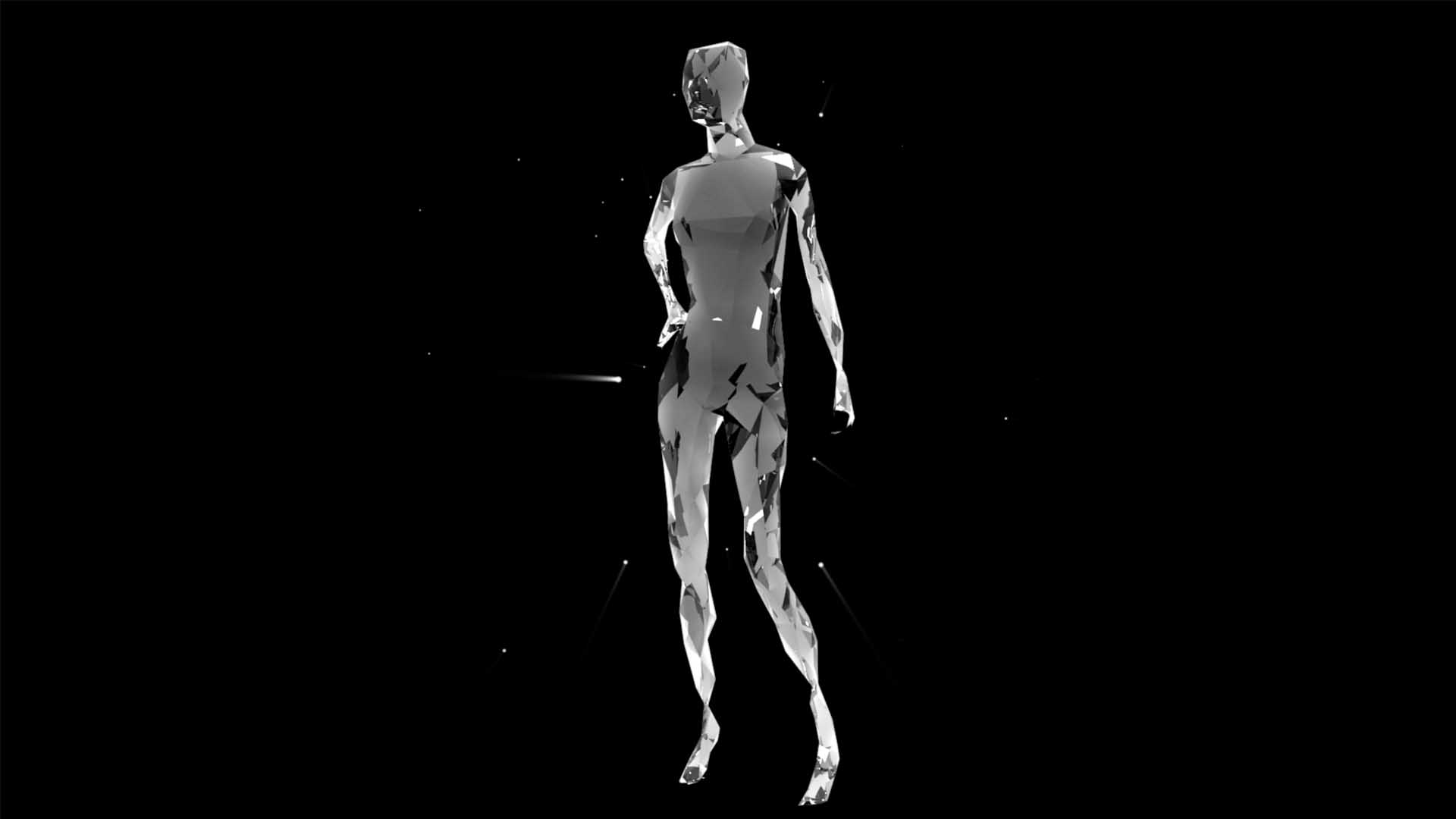 Liquid_Geometry_Statue_Isolated_on_Black_Background_Video_VJ_loop Human