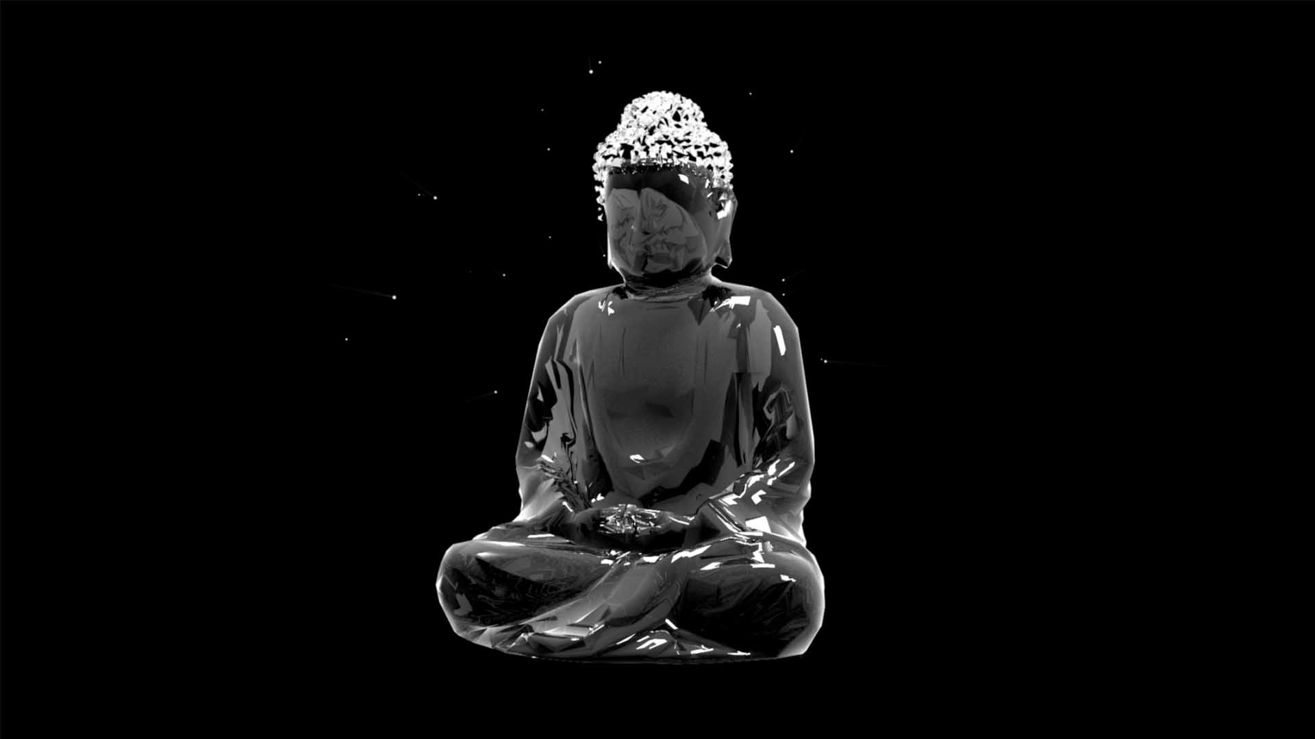 Liquid_Geometry_Statue_Isolated_on_Black_Background_Video_VJ_loop Budha
