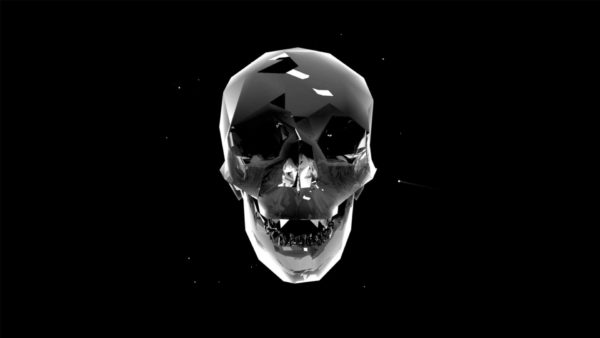 Liquid_Geometry_Statue_Isolated_on_Black_Background_Video_VJ_loop Skull