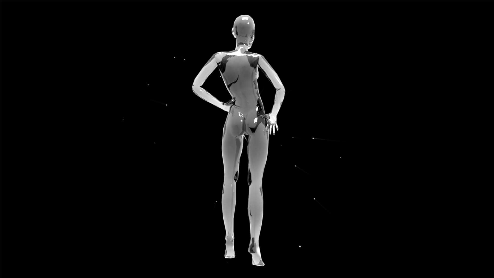 Liquid_Geometry_Statue_Isolated_on_Black_Background_Video_VJ_loop Girl