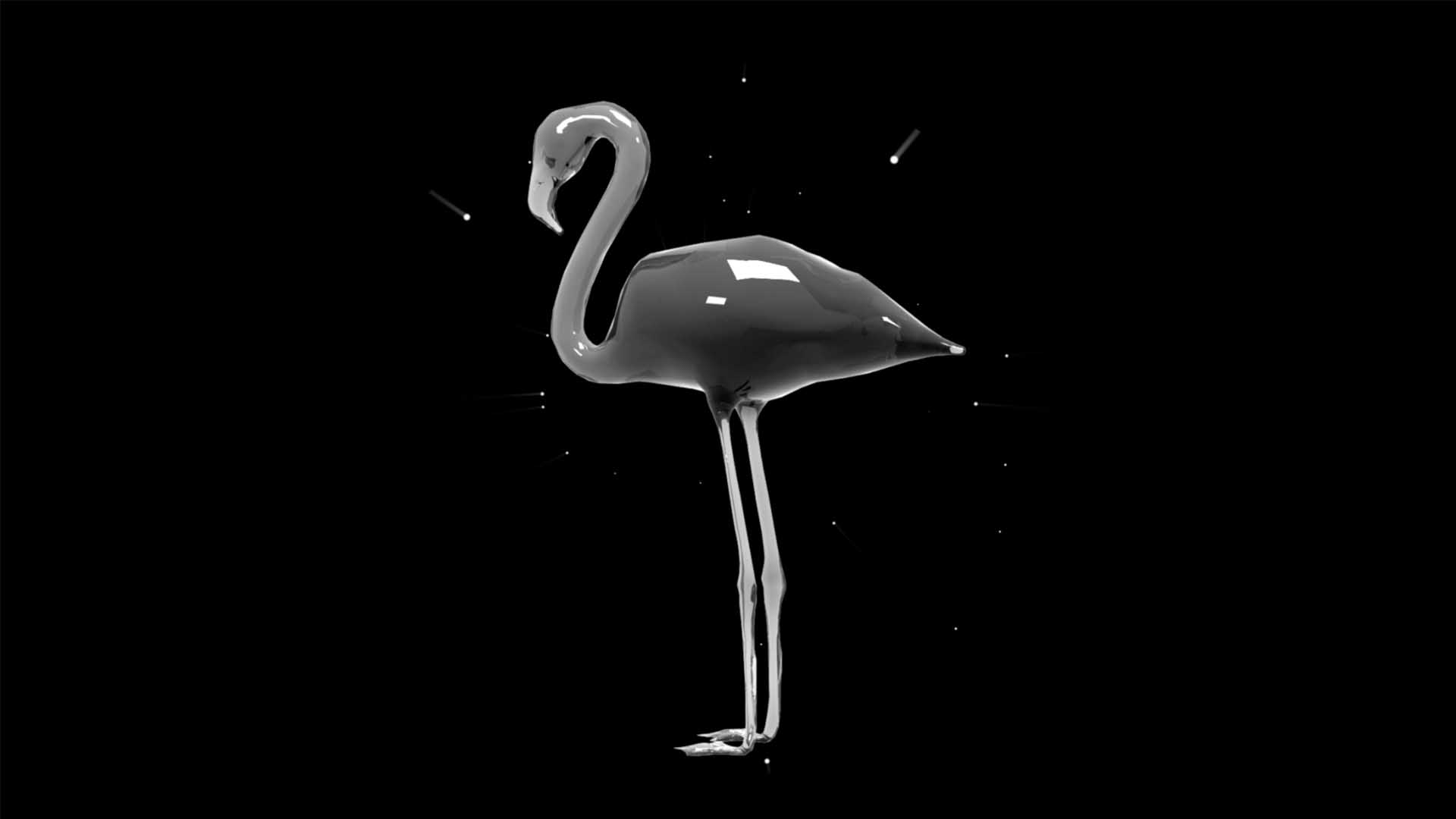 Liquid_Geometry_Statue_Isolated_on_Black_Background_Video_VJ_loop Flamingo