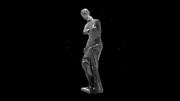 Liquid_Geometry_Statue_Isolated_on_Black_Background_Video_VJ_loop Statue