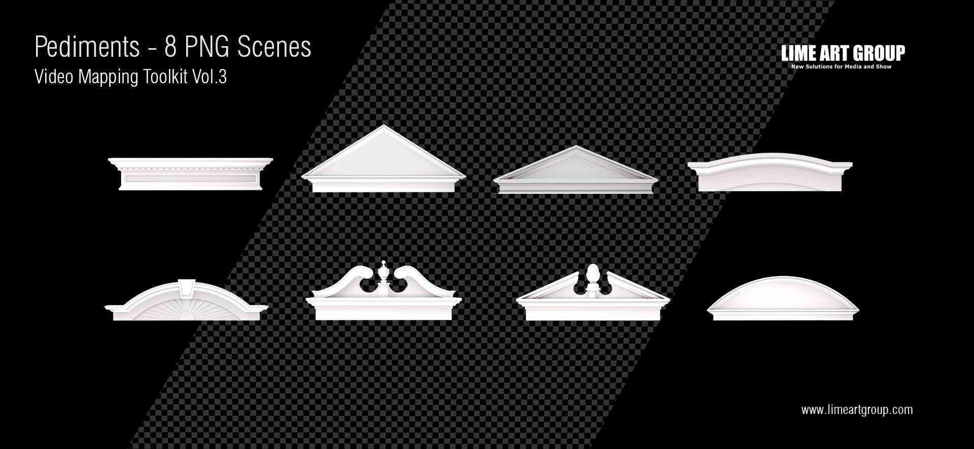 Architectural elements projection – Pediments