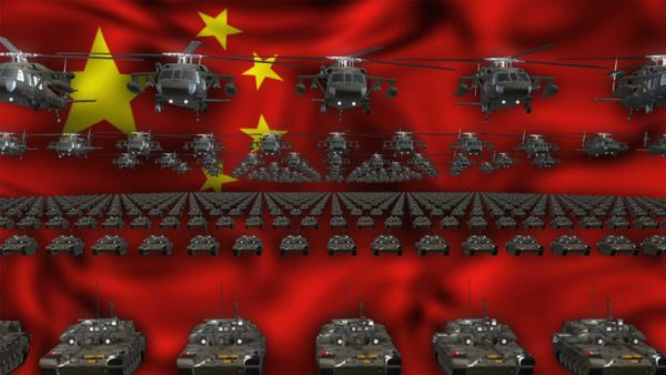 China army flag ideo background vj loop