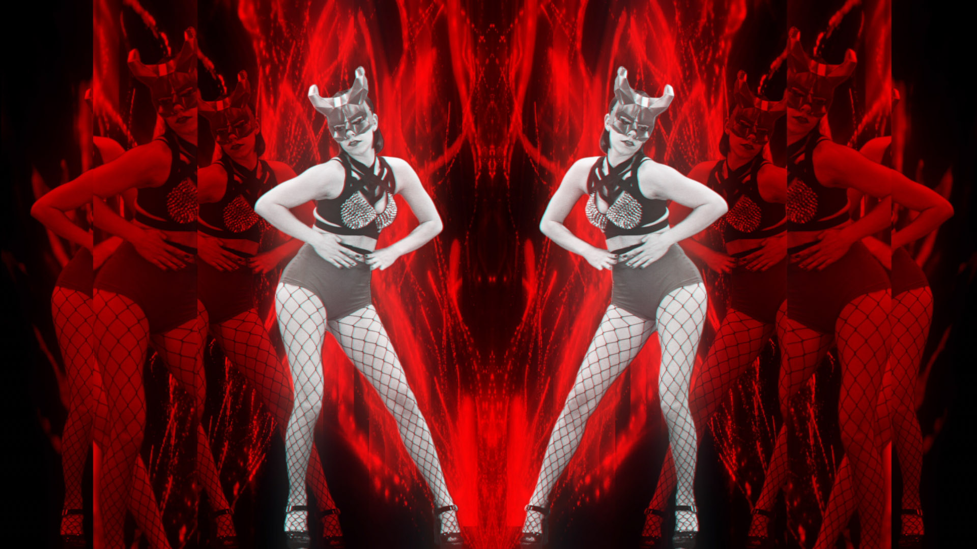 Red Evil Go Go Girl Horn Demons stock footage Video art vj loop