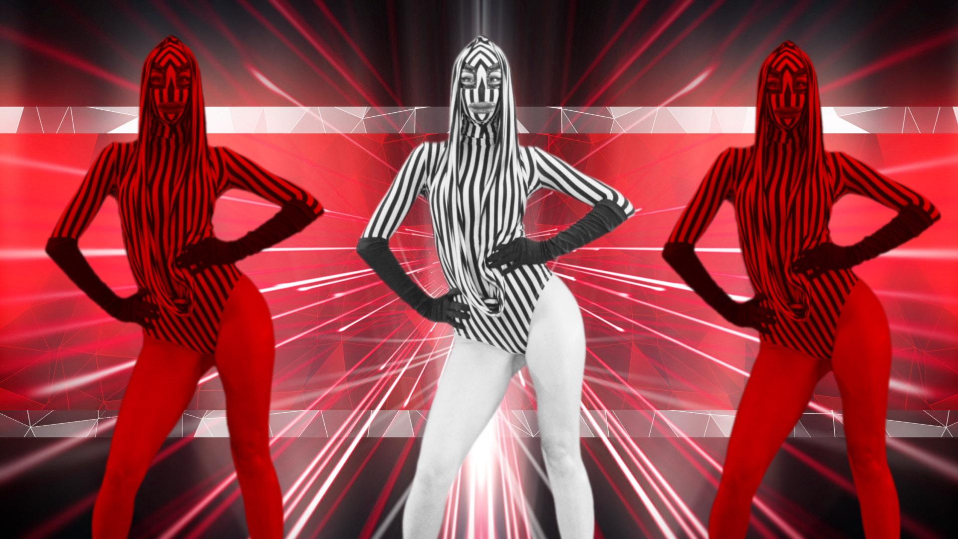Red Evil Go Go Girl Horn Demons stock footage Video art vj loop