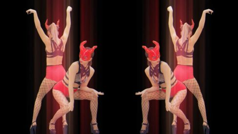 Red-Evil-Go-Go-Girl-Horn-Demons-stock-footage-Video-art-vj-loop