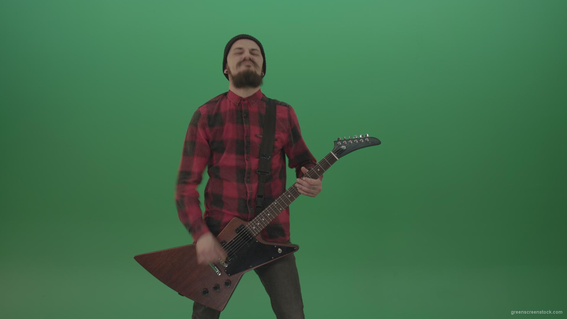 Hard Core Guitarist Green Screen Footage