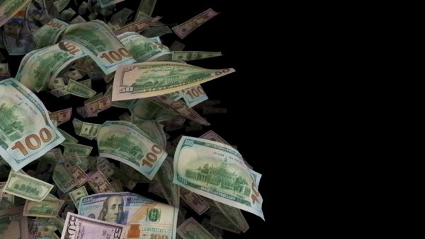 falling money looped video